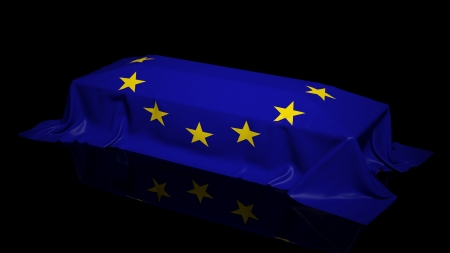 burial: Coffin covered with the flag of EU