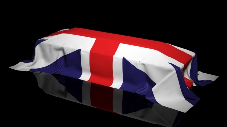 englishman: Coffin covered with the flag of UK