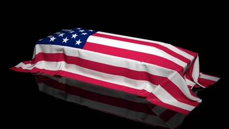 us army: Coffin covered with the flag of USA