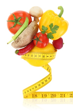 balanced diet: Balanced diet with vegetables Stock Photo