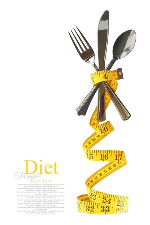 alimentacion equilibrada: Dieta equilibrada representado por un servicio de cubiertos con cinta m�trica