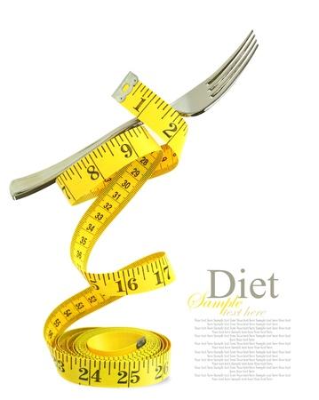 alimentacion balanceada: Dieta equilibrada representado por un tenedor en la cinta de medición