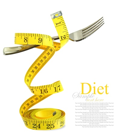 lose balance: Balanced diet represented by a fork on measuring tape Stock Photo