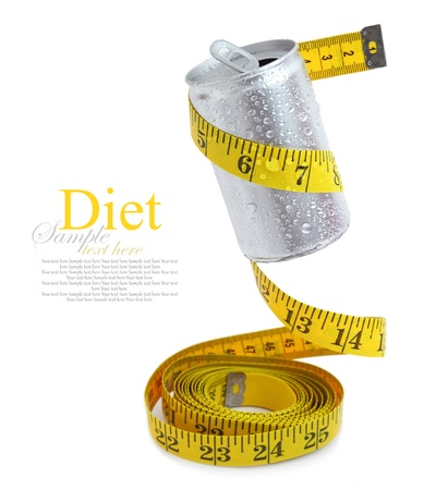 lose balance: Aluminum drink can with measuring tape Stock Photo