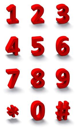3 d 赤い数字のセット