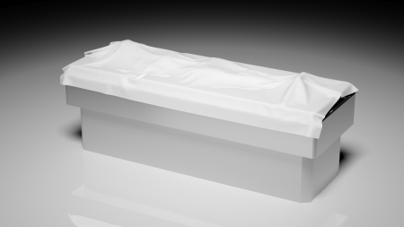 autopsy: Corpse under white sheet on autopsy table