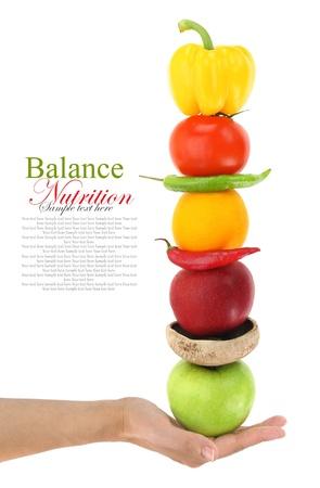 alimentacion balanceada: Dieta equilibrada con frutas y verduras Foto de archivo