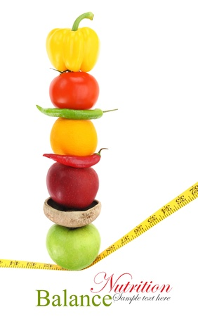 lose balance: Balanced diet with fruits and vegetables