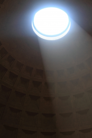 church window: Interior view of the dome of the Pantheon in Rome, Italy