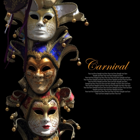 black mask: Vintage venetian carnival masks on black background