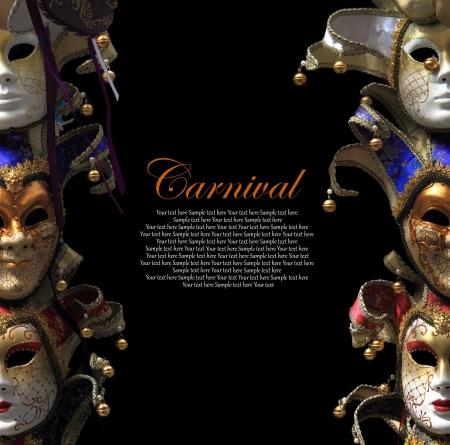 Vintage carnaval maskers Venetiaanse op zwarte achtergrond Stockfoto - 21088049