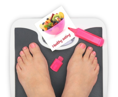 Woman s feet on bathroom scale photo