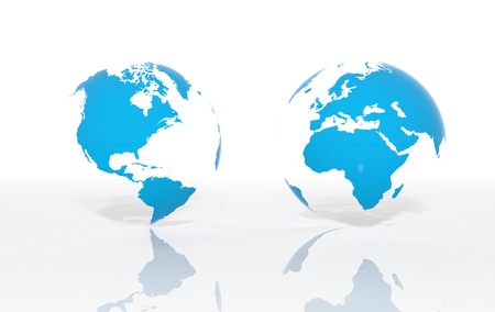 Earth world map on white background photo