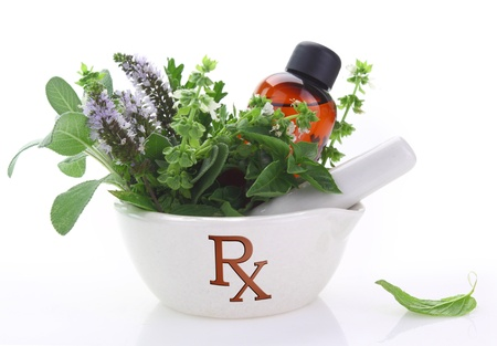 pharmaceutical: Porcelain mortar with rx symbol and fresh herbs Stock Photo