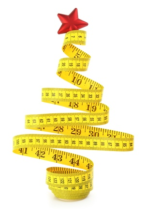 テープを測定から作られたクリスマス ツリー