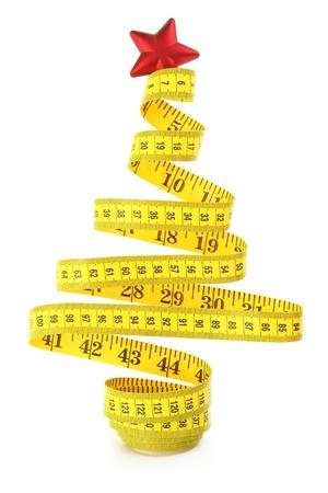 측정 테이프에서 만든 크리스마스 트리 스톡 콘텐츠