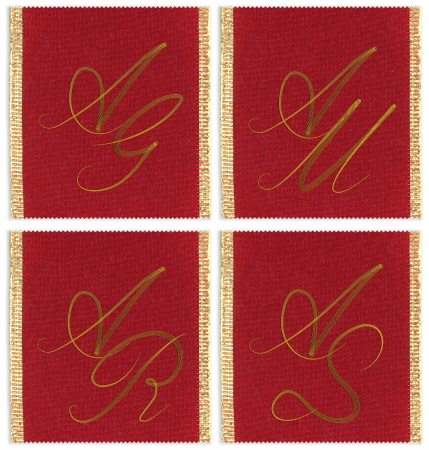 ag: Collection of textile monograms design on a ribbon. AG, AM, AS, AR Stock Photo