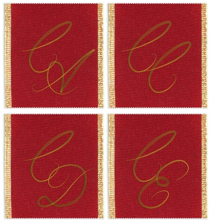 cc: Collection of textile monograms design on a ribbon. CA, CC, CD, CE