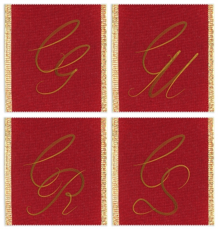 cm: Collection of textile monograms design on a ribbon. CG, CM, CR, CS Stock Photo