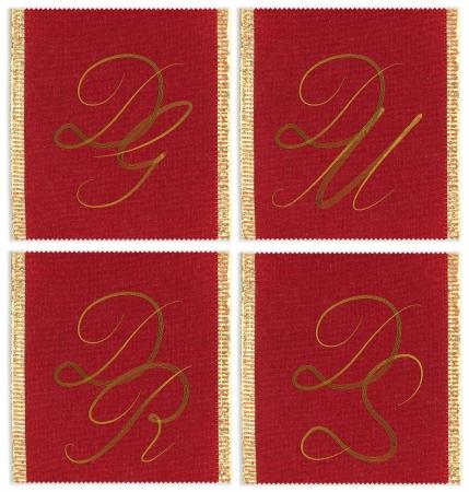 s m: Collection of textile monograms design on a ribbon. DG, DM, DR, DS