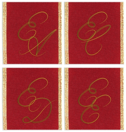 ec: Collection of textile monograms design on a ribbon. EA, EC, ED, EE