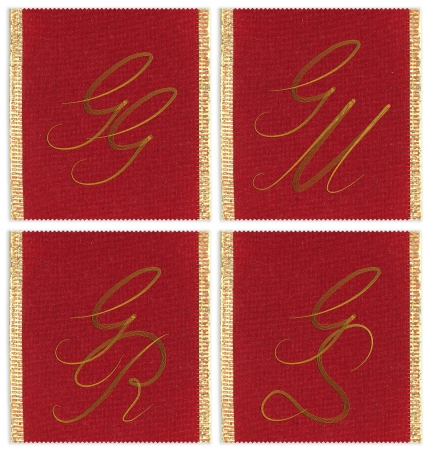gr: Collection of textile monograms design on a ribbon. GG, GM, GS, GR