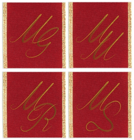 mr: Collection of textile monograms design on a ribbon. MG, MM, MS, MR