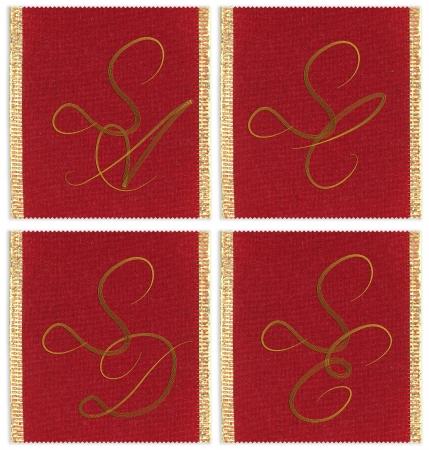 sc: Collection of textile monograms design on a ribbon. SA, SC, SD, SE  Stock Photo