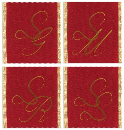 ss: Collection of textile monograms design on a ribbon. SG, SM, SS, SR