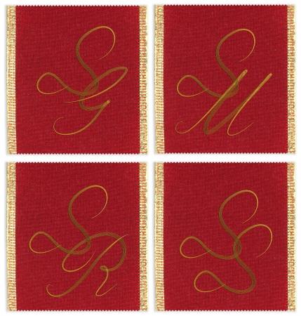 sg: Collection of textile monograms design on a ribbon. SG, SM, SS, SR