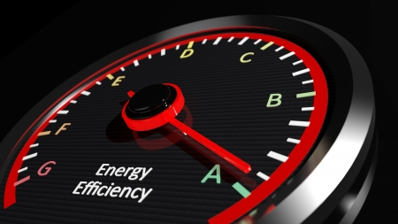 low energy: Energy efficiency rating Stock Photo