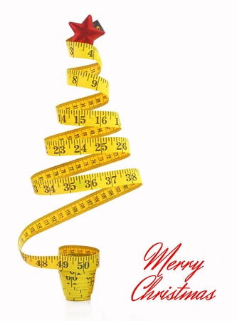 Christmas tree made from measure tape  photo