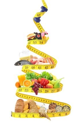 piramide alimenticia: Pir�mide de alimento con cinta m�trica Foto de archivo