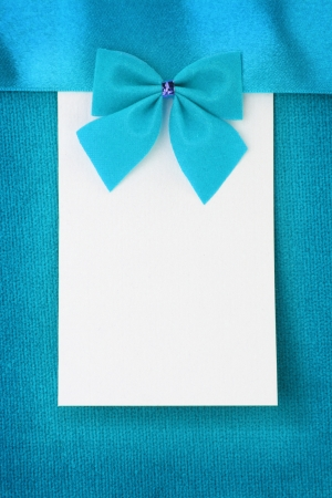 birthday background: Blank paper greeting card on blue background
