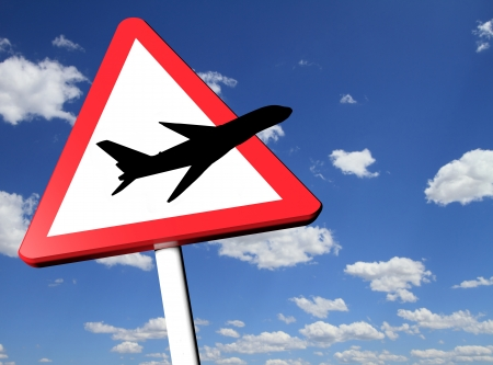 Travel concept road sign with blue sky on the background photo