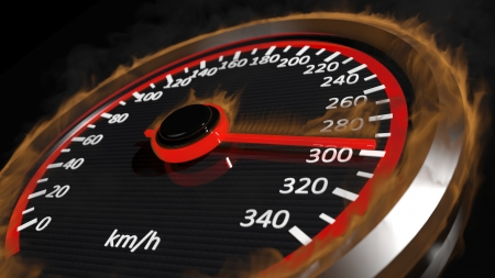 Fire speedometer with moving arrow photo
