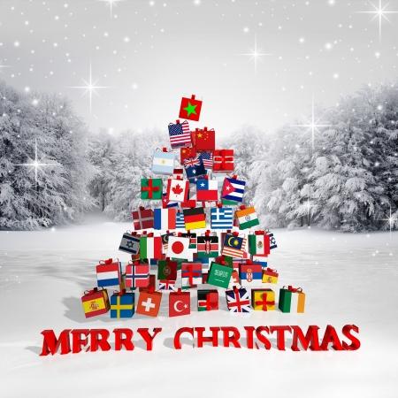 Vrolijk kerstfeest iedereen! Kerstboom gemaakt van geschenkdozen met verschillende vlaggen