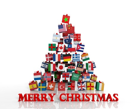 Merry Christmas everyone! Christmas tree made from gift boxes with different flags photo