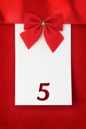 5th: Number five on red greeting card