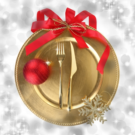 christmas dish: Golden Christmas plate on elegance background  Stock Photo