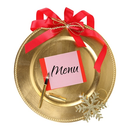 Golden Christmas plate isolated on white background photo