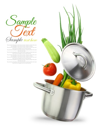 stew pot: Colorful vegetables in a stainless steel cooking pot