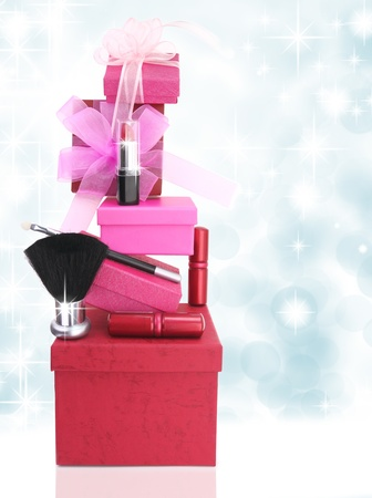 make a gift: Gift boxes and woman cosmetics