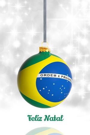 Merry Christmas from Brazil. Christmas ball with flag Stock Photo - 22127304
