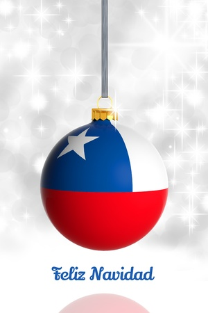Merry Christmas from Chile. Christmas ball with flag photo