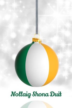 irish christmas: Merry Christmas from Ireland. Christmas ball with flag