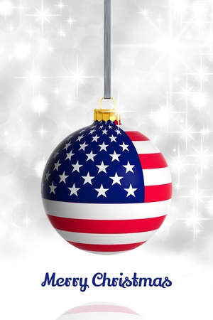 Merry Christmas from USA. Christmas ball with flag photo