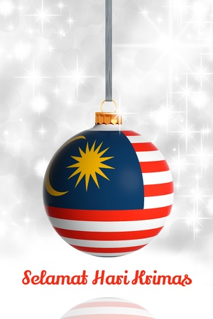 Merry Christmas from Malaysia. Christmas ball with flag photo