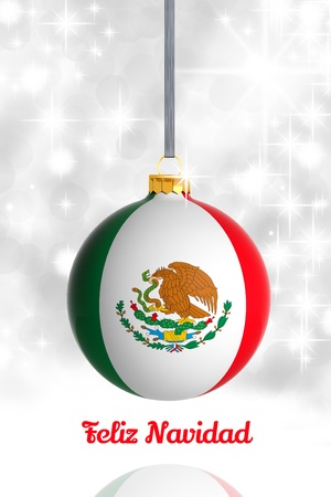 mexican flag: Merry Christmas from Mexico. Christmas ball with flag