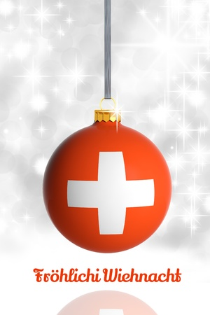 swiss insignia: Merry Christmas from Switzerland. Christmas ball with flag Stock Photo